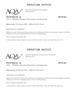 Vật lý A level:AQA PHYA1 w QP JAN11