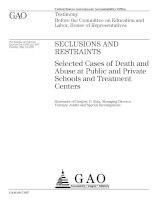 SECLUSIONSAND RESTRAINTS: Selected Cases of Death and Abuse at Public and Private Schools and Treatment Centers pot