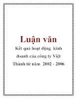 Luận văn: Kết quả hoạt động kinh doanh của công ty Việt Thành từ năm 2002 - 2006 doc
