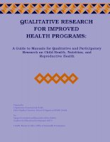QUALITATIVE RESEARCH FOR IMPROVED HEALTH PROGRAMS: A Guide to Manuals for Qualitative and Participatory Research on Child Health, Nutrition, and Reproductive Health doc