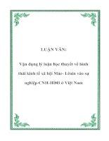 LUẬN VĂN: Vận dụng lý luận học thuyết về hình thái kinh tế xã hội Mác- Lênin vào sự nghiệp CNH-HĐH ở Việt Nam pptx