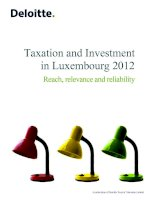 TAXATION AND INVESTMENT IN LUXEMBOURG 2012: REACH, RELEVANCE AND RELIABILITY potx