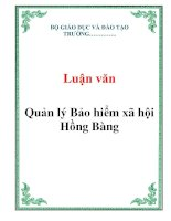 Luận văn: Quản lý Bảo hiểm xã hội Hồng Bàng doc