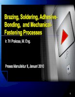 brazing, soldering, adhesive bonding and mechanical fastening processes