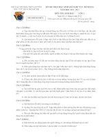 Đề thi HSG khu vực Bắc Bộ năm 2012 Môn Sinh 11 pot