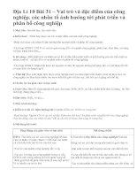 Địa Lí 10 Bài 31 – Vai trò và đặc điểm của công nghiệp. các nhân tố ảnh hưởng tới phát triển và phân bố công nghiệp