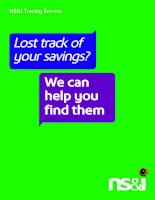 NS&I Tracing Service Lost track of your savings? We can help you find them pptx