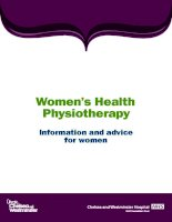 Women's Health Physiotherapy Information and advice for women ppt