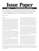 Ensuring Successful Personnel Management In The Department Of Homeland Security pot