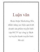 Luận văn: Hoàn thiện Marketing Mix nhằm nâng cao hiệu quả kinh doanh sản phẩm truyền hình cáp HCTV tại công ty Dịch vụ truyền thanh truyền hình Hà nội doc