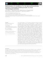 Báo cáo khoa học: Optimization of conditions for the glycosyltransferase activity of penicillin-binding protein 1a from Thermotoga maritima ppt