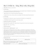 Địa Lí 10 Bài 16 – Sóng. Thuỷ triều. Dòng biển