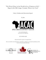 ''''The Worst Place in the World to be a Woman or Girl'''' – Rape in the DR Congo: Canada, Where Are You? docx
