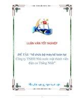 """LUẬN VĂN: """"tổ chức bộ máy kế toán tại Công ty TNHH Nhà nước một thành viên điện cơ Thống Nhất pdf"""