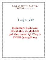 Luận văn: Hoàn thiện hạch toán Doanh thu, xác định kết quả kinh doanh tại Công ty TNHH Quang Hưng potx