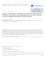 Impact of the Pension on Access to Health and Selected Food Stuffs for Pensioners of the Manonyane Community in Roma, Lesotho as Measured between 2004 and 2006 docx