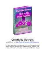 Creativity secrets ebook - Freelance writing tips