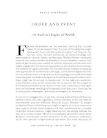 ORDER AND EVENT: On Badiou's Logics of Worlds ppt