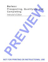 SALES: PROSPECTING, QUALIFYING, AND COMPLETING pdf