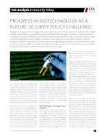 PROGRESS IN BIOTECHNOLOGY AS A FUTURE SECURITY POLICY CHALLENGE