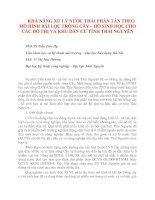 KHẢ NĂNG XỬ LÝ NƯỚC THẢI PHÂN TÁN THEO MÔ HÌNH BÃI LỌC TRỒNG CÂY – HỒ SINH HỌC CHO CÁC ĐÔ THỊ VÀ KHU DÂN CƯ TỈNH THÁI NGUYÊN