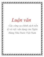 Luận văn: Các công cụ chính sách tiền tệ và việc vận dụng của Ngân Hàng Nhà Nước Việt Nam docx