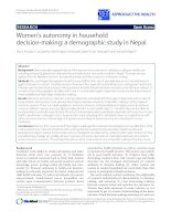 Women''''s autonomy in household decision-making: a demographic study in Nepal potx