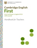 CAMBRIDGE ENGLISH FIRST - FIRST CERTIFICATE IN ENGLISH (FCE) CEFR LEVELL B2 HANDBOOK FOR TEACHERS pdf