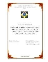 Đề Tài: Phân tích tình hình thu mua thủy sản nguyên liệu của công ty CP thủy sản Cafatex – Hậu Giang docx