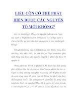 LIỆU CÒN CÓ THỂ PHÁT HIỆN ĐƯỢC CÁC NGUYÊN TỐ MỚI KHÔNG? pdf