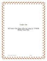 Luận văn:Kế toán vốn bằng tiền tại công ty TNHH Đông Nam Hải doc