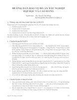 HƯỚNG DẪN BẢO VỆ ĐỒ ÁN TỐT NGHIỆP ĐẠI HỌC VÀ CAO ĐẲNG ppt