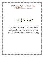 LUẬN VĂN: Hoàn thiện tổ chức công tác kế toán hàng tồn kho tại Công ty Cổ Phần Điện Cơ Hải Phòng pdf