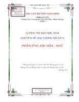 Chuyên đề luyện thi đại học 2014: Phản ứng oxi hóa khử