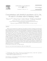 Concentration and chemical speciations of cu, zn, pb and cr of urban soils in nanjing, china