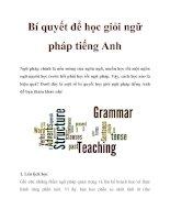 Bí quyết để học giỏi ngữ pháp tiếng Anh ppt
