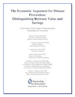 The Economic Argument for Disease Prevention: Distinguishing Between Value and Savings ppt
