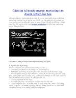 Cách lập kế hoạch internet marketing cho doanh nghiệp của bạn potx