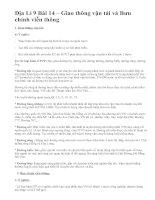 Địa Lí 9 Bài 14 – Giao thông vận tải và Bưu chính viễn thông