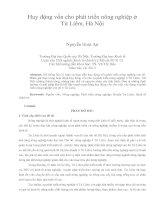 Huy động vốn cho phát triển nông nghiệp ở Từ Liêm, Hà Nội pdf