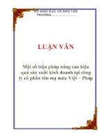 LUẬN VĂN: Một số biện pháp nâng cao hiệu quả sản xuất kinh doanh tại công ty cổ phần tôn mạ màu Việt – Pháp potx