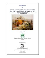 DEVELOPMENT OF GUIDELINES FOR WATER CONSERVATION IN PULP AND PAPER SECTOR doc