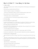 Địa Lí 12 Bài 17 – Lao động và việc làm