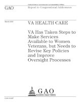 VA Has Taken Steps to Make Services Available to Women Veterans, but Needs to Revise Key Policies and Improve Oversight Processes docx