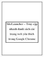 SiteLauncher – Truy cập nhanh danh sách các trang web yêu thích trong Google Chrome docx