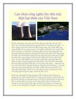 Lựa chọn công nghệ cho nhà máy điện hạt nhân của Việt Nam pptx