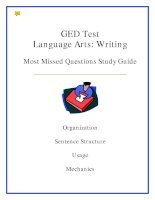 GED Test Language Arts: Writing Most Missed Questions Study Guide pdf