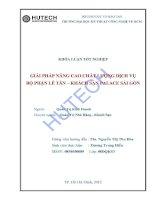 LUẬN VĂN DU LỊCH  GIẢI PHÁP NÂNG CAO CHẤT LƯỢNG DỊCH VỤ BỘ PHẬN LỄ TÂN KHÁCH SẠN PALACE SÀI GÒN