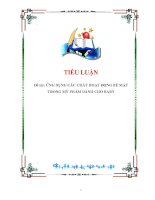 tiểu luận: ỨNG DỤNG CÁC CHẤT HOẠT ĐỘNG BỀ MẶT TRONG MỸ PHẨM DÀNH CHO BABY pdf