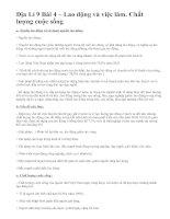 Địa Lí 9 Bài 4 – Lao động và việc làm. Chất lượng cuộc sống